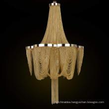 Luxury hotel creative personality round aluminum chain tassel gold silver chandelier