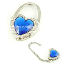 Heart-Shaped Diamond Purse Hook for Promotion Gifts