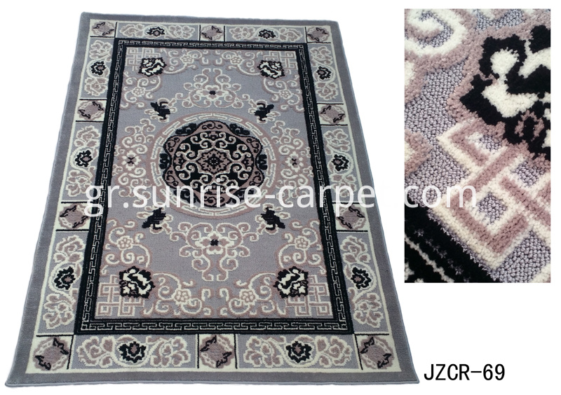 Microfiber with loop rug in tradational design