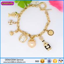 Pulsera promocional de joyería de oro de pulsera personalizada