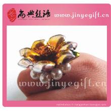 Chine gros gros or fleur en céramique Vintage perle bague