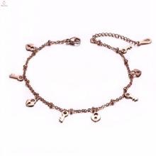 Vente chaude simple or rose en vrac serrure à clé charmes bracelet cheville
