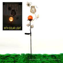 Ценовое украшение сада Полая текстура Солнечная освещенная металлическая сова