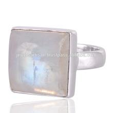 Natürlicher Regenbogen-Mondstein-Edelstein 925 Sterlingsilber-Ring