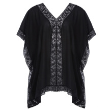 Hanna Nikole Women's Plus Size 0X~3X Short Batwing Sleeve V-Neck V-Back Tops HN0018-1