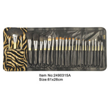 24pcs yellow plastic handle animal/nylon hair makeup brush set with leopard satin case