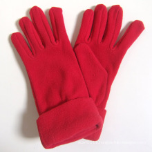 Lady Fashion Red Polar Fleece Knitted Winter Warm Gloves (YKY5446)