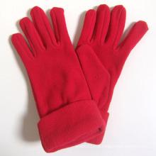 Velo moda senhora vermelha polar de malha de inverno luvas quentes (yky5446)