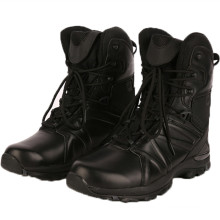 Black Fur Leather Police Tactical Boots Military Boots