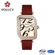 Red Genuine Leather Band Square Stainless Steel Case Jewelry Fashion Watch