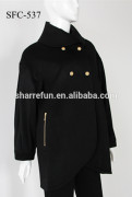 Hot Classic Black Womens Woolen cashmere Jacket Coat