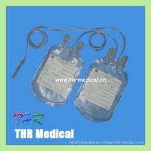 Bolsa de plástico desechable de doble sangre para uso hospitalario