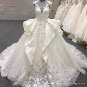 Nuevas llegadas al por mayor diseños magníficos del bordado de la colmena 2018 WT288 vestido de boda
