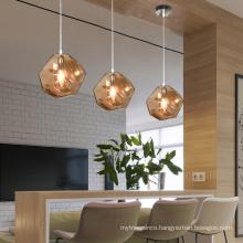 Zhongshan vintage Cube glass Pendant Lights unique Lava Irregular modern pendant chandelier