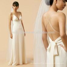 Sexy 2014 Spaghetti Straps Criss Cross Backless Full-Length Vestido de casamento com linha A China Custom Made Online Sale NB0889