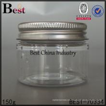 tarro de plástico transparente para cocina / cosmético, frasco de plástico 150g, botella de plástico barata en China