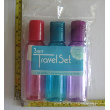 Kit de embalaje cosmético del recorrido 3PCS, botella superior colorida del disco
