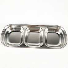Small Restaurant Melamine  Stainless Steel Divided Sauce Wasabi Dish
