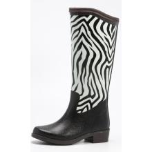 Bottes de pluie femmes Zebra impression d'hiver en caoutchouc