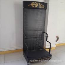 Pegboard Movable Metal Display Stand with Wheels