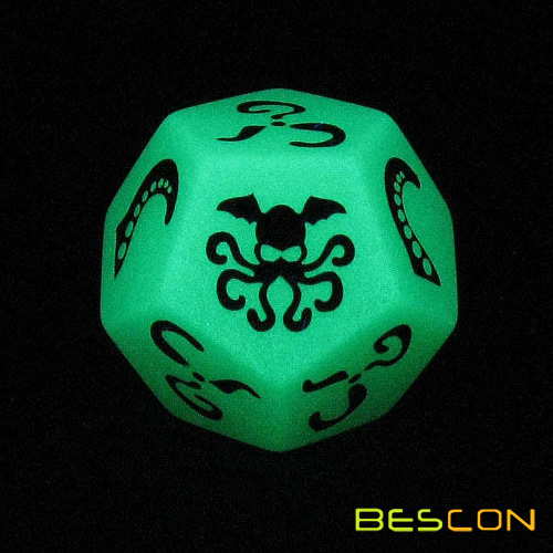 High quality custom polyhedral 12 sided glowing dice, luminous polyhedral dice