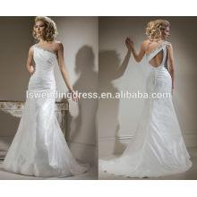 WD0002 um ombro trimeado por contas e cristais brilhantes buraco chave traseiro vestido de noiva com tafetá acinzentado