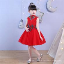 Hoher Kragen Spitze Stickerei rote Blume Mädchen Kleid für Hochzeit