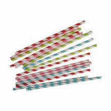 Biodegradable Colorful Striped Paper Drinking Straws, Popular Among Wedding Parties, Banquets