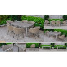 COLLECTION CANARIENNE - Table de salle à manger en polyéthylène Poly-PE en 2017, la plus vendue et 6 chaises Meubles de jardin extérieur