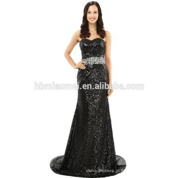 Lantejoulas Corpo Conscious oferta ombro Atacado Senhoras Vestido preto vestido de noite