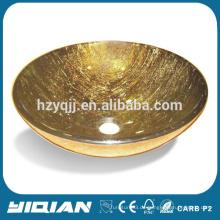 Made in China Lavatory Vanity Countertop Becken Einfache Moderne Gold Glas Toilette Waschbecken