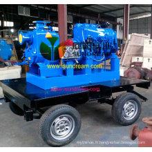 Pompe à eaux usées auto-amorçante à moteur diesel sans obstruction