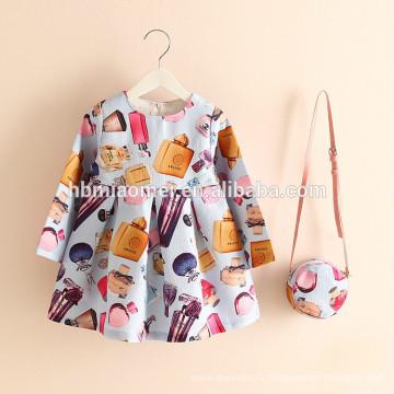 2017 горячее надувательство печатных девушка платье 2шт набор платье принцессы цветочные девушки платье с сумка для повседневной носки