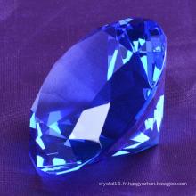 Cadeau de mariage de forme de diamant en cristal K9 bleu fait à la main grand