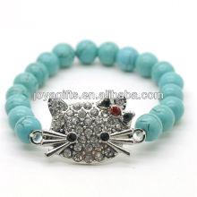 Türkis 8MM runde Perlen Stretch Edelstein Armband mit Diamante Legierung Katze Kopf Stück