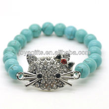Turquoise 8MM Round Beads Stretch Gemstone Bracelet with Diamante alloy cat head Piece