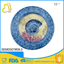 "FDA,EU standard custom designs printing 11""round shape melamine dinner plates with logo"