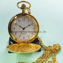 Melhor relógio de bolso de ouro com quartzo com corrente