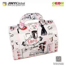 Abstract design fashion and personality bright paint waterproof handed cosmetic bag