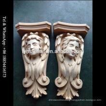 Antique Carved Animal People Wood Corbel