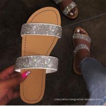 Summer Shoes Woman Sandals for Women 2020 Bling Flat Rhinestone Ladies Beach Sandals Designer Luxury Sandalias Mujer Sandals