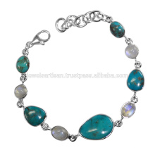Arizona Türkis und Regenbogen Moonstone Edelstein 925 Solid Silber Armband