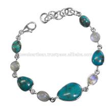 Arizona Turquoise And Rainbow Moonstone Gemstone 925 Solid Silver Bracelet