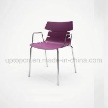 Silla plástica adaptable al por mayor del color con la pierna y el apoyabrazos de acero del cromo (SP-UC494)