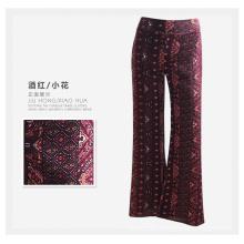 Pantalones de las mujeres del OEM Pantalones ocasionales Pantalones de las señoras del Rayón de la impresión de la flor