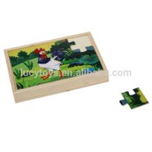 Pädagogischer hölzerner Hahn und Fox Puzzle Spielzeug für Kinder
