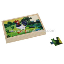Educational Wooden Rooster and Fox Jigsaw Puzzle Toys for Kids