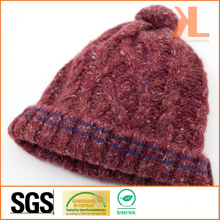 100% Acrylic Cable Knitted Hat with Striped Brim and Pompom