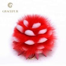 Différentes tailles fox queue fourrure balle porte-monnaie charme porte-clés accessoire