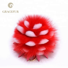 Different sizes fox tail fur ball purse charm keychain accessory